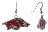 Red Crystal Arkansas Razorbacks Logo Fish Hook Earrings