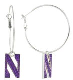 Northwestern Crystal N Logo Hoop Earrings