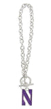 Northwestern Crystal N Logo Toggle Chain Bracelet