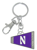 Purple Northwestern N Cheer Megaphone Key Chain