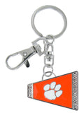 Metal Outline Orange Clemson Cheer Megaphone Key Chain