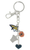 Montana State Bobcats Basketball Combo Key Chain with Navy Heart