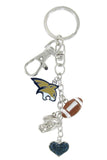 Montana State Bobcats Football Combo Key Chain with Navy Heart