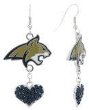 Montana State Bobcats Love Fish Hook Earrings with Navy Hearts
