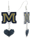 Montana State M Love Fish Hook Earrings with Navy Hearts