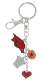 Arkansas Razorbacks Basketball Combo Key Chain with Red Heart