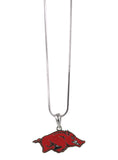Red Enamel Arkansas Razorbacks Logo Pendant Necklace