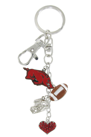 Arkansas Razorbacks Football Combo Key Chain with Red Heart