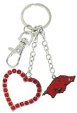 Arkansas Razorbacks Love Combo Key Chain with Red Heart