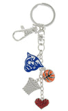 Royal Blue Georgia State Panthers Basketball Combo Key Chain with Red Heart