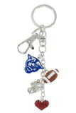 Royal Blue Georgia State Panthers Football Combo Key Chain with Red Heart