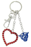 Royal Blue Georgia State Panthers Love Combo Key Chain with Red Heart