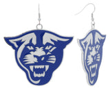 XXL Royal Blue Enamel Georgia State Panthers Game Day Fish Hook Earrings