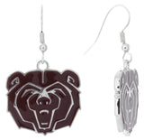 Maroon Enamel Missouri State Bears Logo Fish Hook Earrings