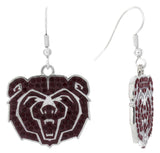 Dark Red Crystal Missouri State Bears Logo Fish Hook Earrings