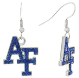 Royal Blue Crystal Air Force Academy AF Fish Hook Earrings