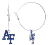 Royal Blue Crystal Air Force Academy AF Hoop Earrings