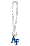 Royal Blue Crystal Air Force Academy AF Toggle Chain Bracelet
