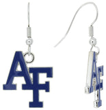 Royal Blue Enamel Air Force Academy AF Fish Hook Earrings