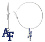 Royal Blue Enamel Air Force Academy AF Hoop Earrings