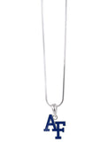 Royal Blue Enamel Air Force Academy AF Pendant Necklace