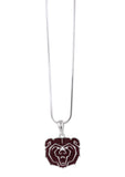 Dark Red Crystal Missouri State Bears Logo Pendant Necklace