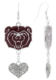 Maroon Missouri State Bears Love Fish Hook Earrings with Clear Hearts