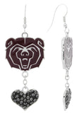 Maroon Missouri State Bears Love Fish Hook Earrings with Hematite Hearts