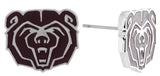 Mini Maroon Enamel Missouri State Bears Logo Stud Earrings