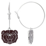 Maroon Enamel Missouri State Bears Logo Hoop Earrings