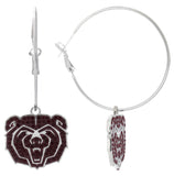 Dark Red Crystal Missouri State Bears Logo Hoop Earrings