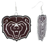 XXL Maroon Enamel Missouri State Bears Game Day Fish Hook Earrings