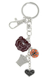 Maroon Missouri State Bears Basketball Combo Key Chain with Hematite Heart