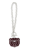 Dark Red Crystal Missouri State Bears Logo Toggle Chain Bracelet