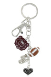 Maroon Missouri State Bears Football Combo Key Chain with Hematite Heart