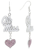 Pink Ole Miss Love Fish Hook Earrings