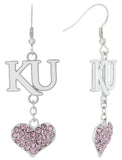 Pink Kansas KU Love Fish Hook Earrings