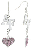 Pink Air Force Academy AF Love Fish Hook Earrings
