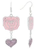 Pink Missouri State Bears Love Fish Hook Earrings