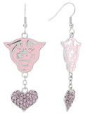 Pink Georgia State Panthers Love Fish Hook Earrings