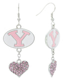 Pink BYU Love Fish Hook Earrings