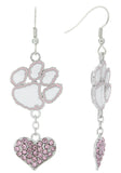 Pink Clemson Love Fish Hook Earrings