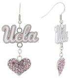 Pink UCLA Love Fish Hook Earrings