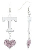 Pink Tennessee Love Fish Hook Earrings