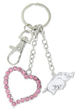 Pink Arkansas Razorbacks Love Key Chain
