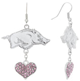 Pink Arkansas Razorbacks Love Fish Hook Earrings
