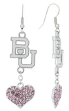 Pink Boston BU Love Fish Hook Earrings
