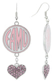 Pink FAMU Love Fish Hook Earrings
