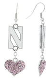 Pink Northwestern U Love Fish Hook Earrings