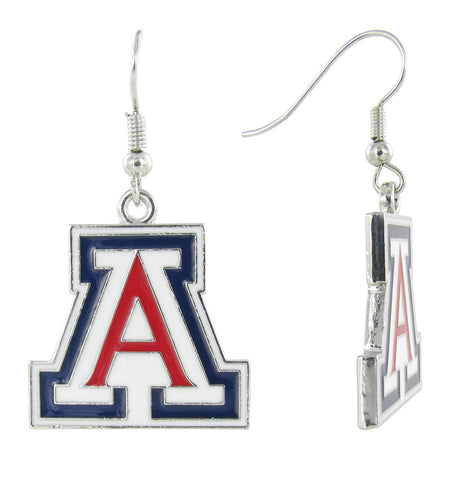 "Enamel Arizona ""A"" Fish Hook Earrings"